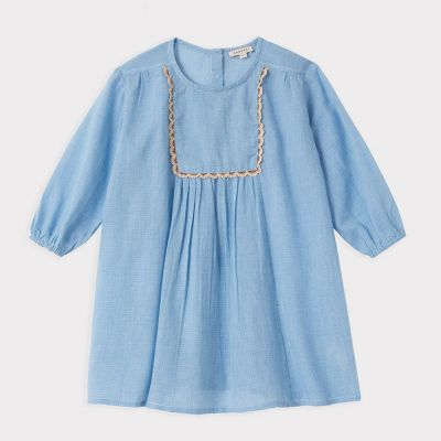 Dress Coral Blue Microcheck by Caramel