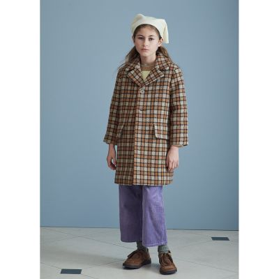 Wool Coat Danby Brown Check by Caramel-6Y