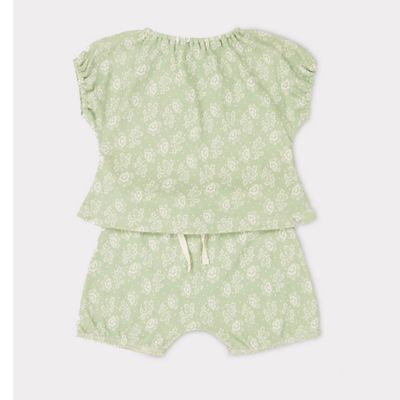 Baby Set Fugu Mint Flower Print by Caramel-3M