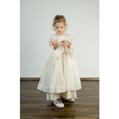 Silk and Cotton Dress Off-White by Pero