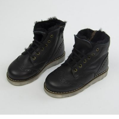 Leather Fur Lined Boots Dublin Black by Pepe Children Shoes-24EU