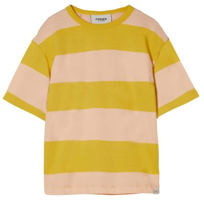 T-Shirt Queen Mustard/Peach Stripes by Finger in the Nose-4/5Y