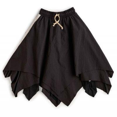 Flowy Skirt Black with White Side Stripes by nununu-2/3Y