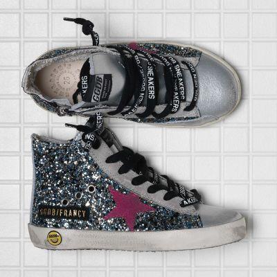Sneakers Francy Silver Blue Glitter Fuxia Star-24EU
