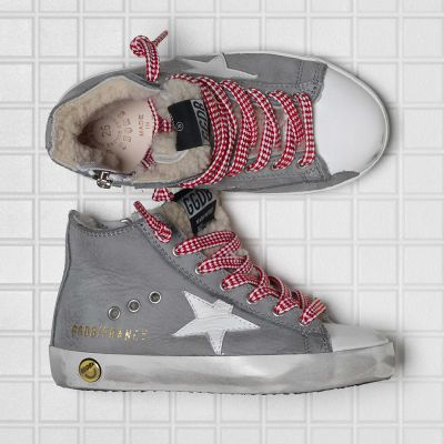 Fur Lined Sneakers Francy Grey Nabuk Red Drama Lace by Golden Goose Deluxe Brand
