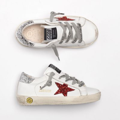 Sneakers Superstar White Leather Red Glitter Star by Golden Goose Deluxe Brand