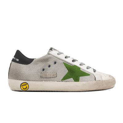 Sneakers Superstar Silver Mesh Lime Suede Star