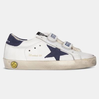 Sneakers Old School White Leather Blue Depths Star by Golden Goose Deluxe Brand