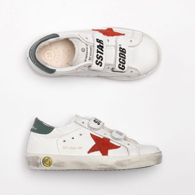Sneakers Old School White Leather Green Red Star