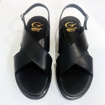 Leather Cross Strap Sandals Black by Gallucci