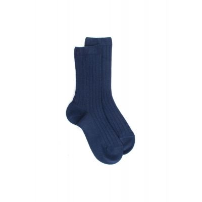 Ribbed Cotton Socks Dark Blue by Dore Dore