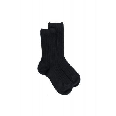 Ribbed Cotton Socks Black by Dore Dore