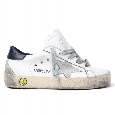 Sneakers Superstar White Leather Navy Blue Star by Golden Goose Deluxe Brand