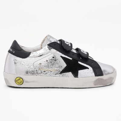 Sneakers Old School Silver Crack Laminated Suede Black Star by Golden Goose Deluxe Brand