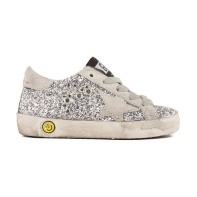 Sneakers Superstar Silver Glitter Suede Grey Star by Golden Goose Deluxe Brand