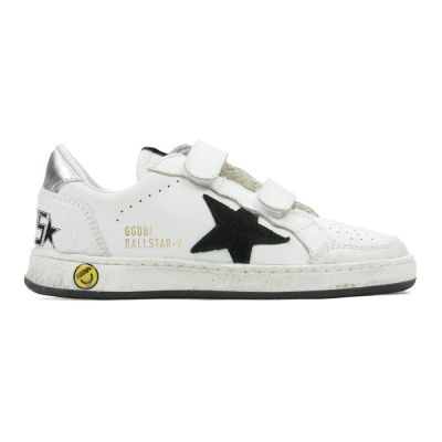Sneaker Ballstar-V White Leather Black Star by Golden Goose Deluxe Brand