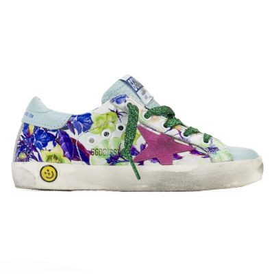 Sneakers Superstar Purple Flowers Pink Star by Golden Goose Deluxe Brand