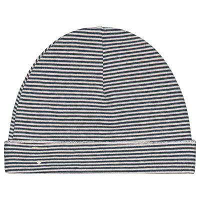Baby Beanie Blue Grey/Cream Striped by Gray Label