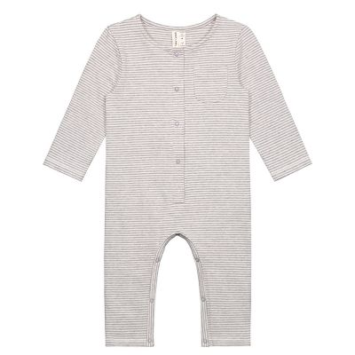 Baby Playsuit Grey Melange/Cream Stripes by Gray Label