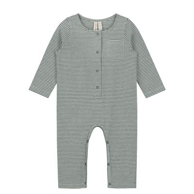 Baby Long-Sleeved Playsuit Blue Grey/Cream Striped by Gray Label