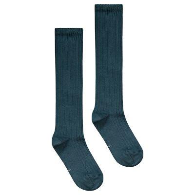Long Ribbed Socks Blue Grey by Gray Label