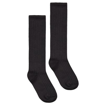 Long Ribbed Socks Nearly Black by Gray Label