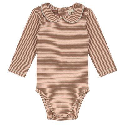 Baby Collar Onesie Autumn/Cream Striped by Gray Label
