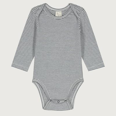 Baby Long-Sleeved Onesie Blue Grey/Cream Striped by Gray Label-3M