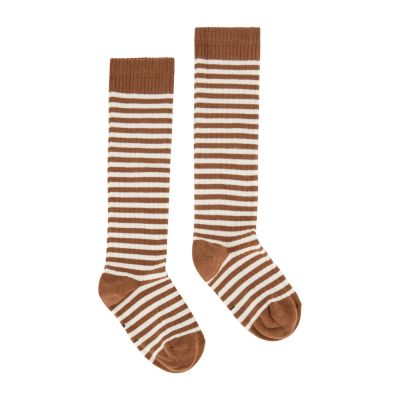 Long Ribbed Socks Autumn/Cream Striped by Gray Label