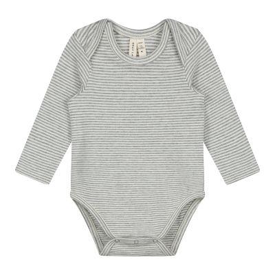 Baby Long-Sleeved Onesie Grey Melange/Cream Striped by Gray Label-3M