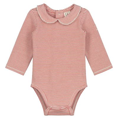 Baby Collar Onesie Faded Red Cream Striped-3M