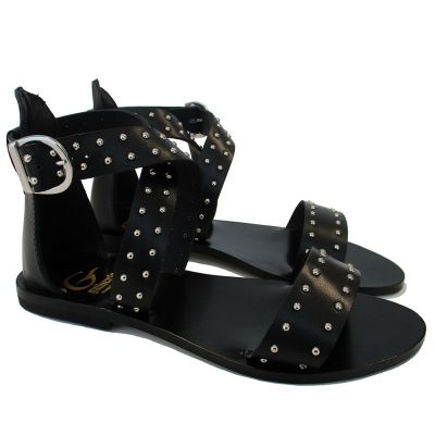 Leather Strap Sandals with Stud Details-27EU
