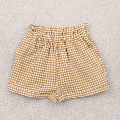 Shorts Simone Mustard Gingham Check by Ketiketa-4Y