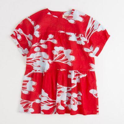 Dress Rain Red Blue Flowers by MAAN
