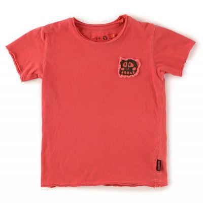 Baby Rowdy Mask Patch T-Shirt Vintage Red by nununu