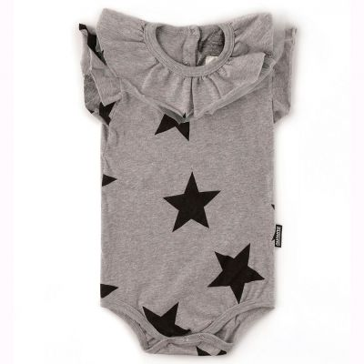 Baby Star Ruffled Onesie Grey by nununu