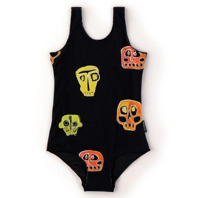 Baby One Piece Swimsuit Rowdy Masks Print by nununu