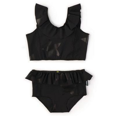 Ruffled Bikini with Star Print Black by nununu