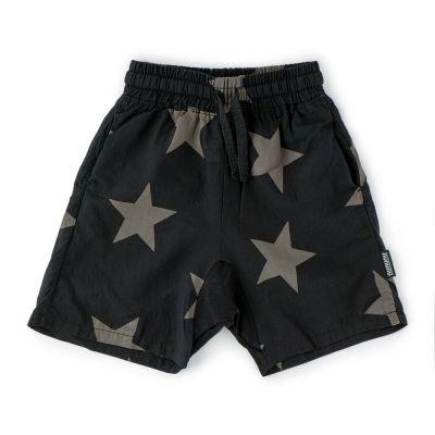 Voile Shorts with Star Print Black by nununu