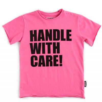 T-Shirt Handle with Care! Lava Pink by nununu