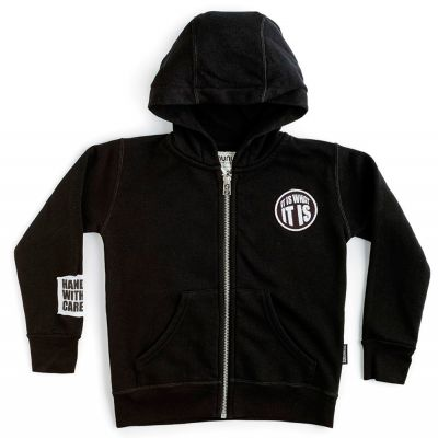 Zip Hoodie What it is Black by nununu