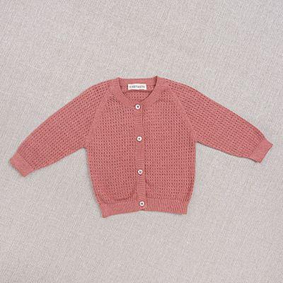 Baby Cotton and Silk Cardigan Openwork Rose by Ketiketa-3M