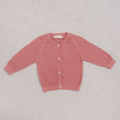 Baby Cotton and Silk Cardigan Openwork Rose by Ketiketa