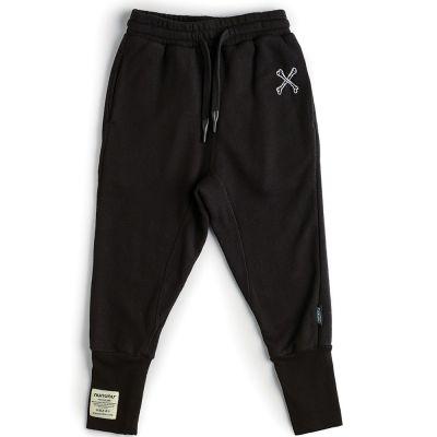 Cross Bone Sweatpants Black by nununu