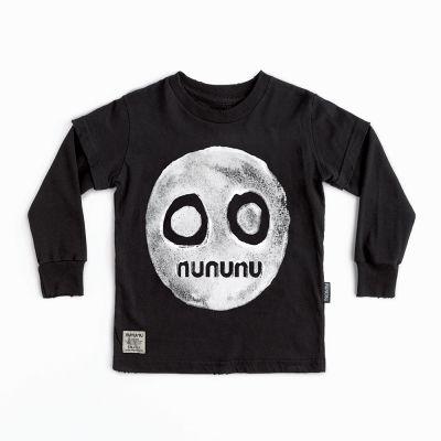 Smile Print T-Shirt Black by nununu