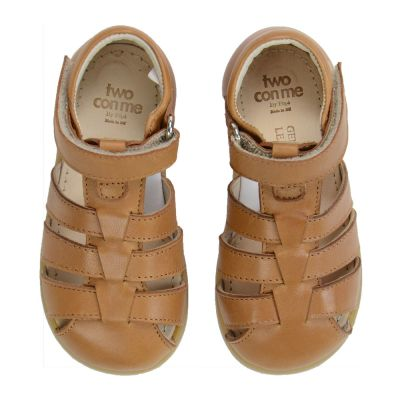 Two Con Me - Leather Velcro Baby Sandals Brown by Pepe Children Shoes-19EU