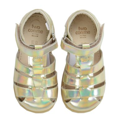 Two Con Me - Leather Velcro Baby Sandals Hologram by Pepe Children Shoes-19EU