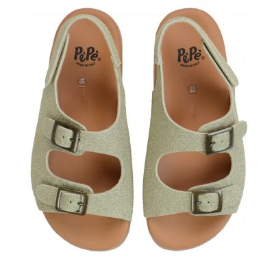Leather Sandals Gold Glitter with Velcro Opening by Pepe Children Shoes