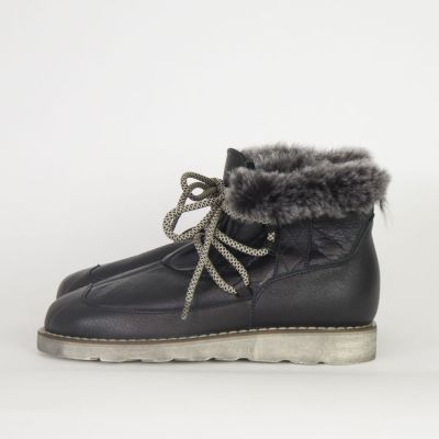 Leather Fur Boots Black by Pepe Children Shoes