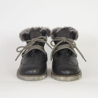 Leather Fur Boots Black by Pepe Children Shoes-24EU